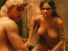 Rosario Dawson struggles with her tits out before giving in to hard sex