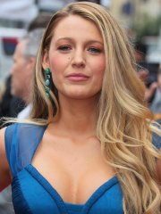 Blake Lively busty showing big cleavage in blue gown for Ryan Reynolds HWOF Star Ceremony