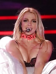 Britney Spears wearing fishnets & leotard on stage in Moscow