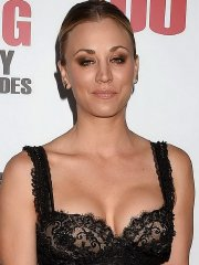 Kaley Cuoco braless showing huge cleavage in black see-through dress at event in LA