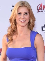 Adrianne Palicki busty in tight blue maxi dress at Avengers: Age Of Ultron premiere in Hollywood