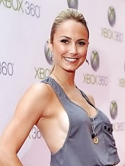 Stacy Keibler braless in tank-top showing side-boob at The Xbox 360's Project Natal Premiere Party