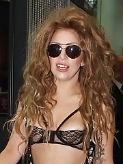 Lady Gaga areola and panty peak wearing c-thru bra and pants at Heathrow Airport in London