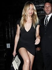 Cameron Diaz wearing a nasty short tight dress at her birthday celebration in NYC