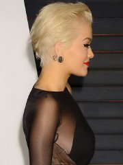 Rita Ora showing sideboob and ass in side-transparent black dress at 2015 Vanity Fair Oscar Party in Hollywood