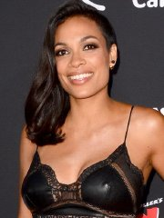 Rosario Dawson shows pokies wearing a tight leather & lace dress at Sin City A Dame To Kill For premiere in LA
