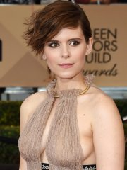 Kate Mara braless showing side-boob and huge cleavage at 22nd Annual SAG Awards in LA