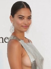 Shanina Shaik flashing side-boobs and thighs braless in revealing silver gown at event in Cannes