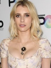 Emma Roberts busty in low-cut floral mini dress at Entertainment Weekly's Popfest in LA