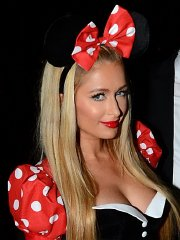Paris Hilton busty wearing a Minnie Mouse costume at Casamigos Tequila's Halloween Party in Beverly Hills