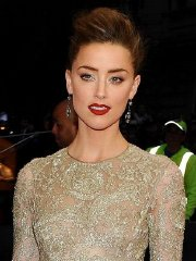 Amber Heard braless wearing a see through dress at the 2014 Met Gala in NY