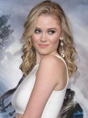 Virginia Gardner busty in tight white dress at Project Almanac premiere in Hollywood