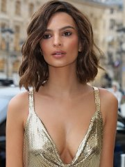 Emily Ratajkowski braless showing pokies and huge cleavage outside the Hotel Ritz in Paris