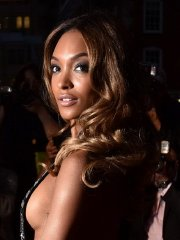 Jourdan Dunn pantyless and braless shows side-boob wearing a side see-through dress at the GQ Men Of The Year Awards in London