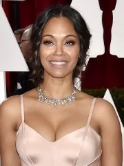 Zoe Saldana showing huge cleavage at the 87th Annual Academy Awards