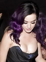 Katy Perry downtop wearing a strapless dress in Hollywood