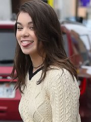 Hailee Steinfeld leggy wearing black mini skirt and pantyhose out in Park City