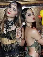 Stella Hudgens at her 18th birthday party with Vanessa Hudgens dressed like a belly dancers