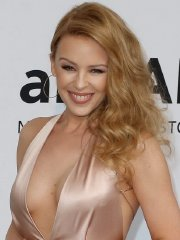 Kylie Minogue showing huge cleavage at amfAR's 21st Cinema Against AIDS Gala