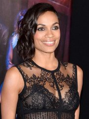 Rosario Dawson wearing a partially see through lace dress at the 'Top Five' New York premiere