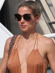 Elsa Pataky showing nipple-pokies & side-boob while getting ass groped out in Corsica
