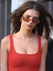 Emily Ratajkowski busty & leggy showing huge cleavage in a tiny red mini dress out in NYC