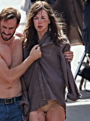 Nicole Kidman all dirty wearing panties and shirt on the 'Strangerland' set in Canowindra, Australia