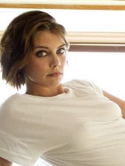 Lauren Cohan braless wearing various see through outfits for the Ladygunn Magazine photoshoot